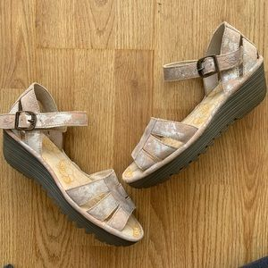 Fly London Rese Metallic Wedge Sandals 39